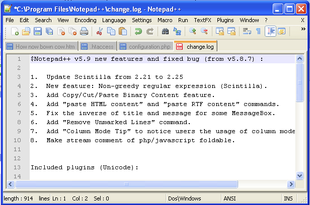 image of Windows Notepad Configuration