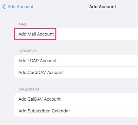 Add Mail Account