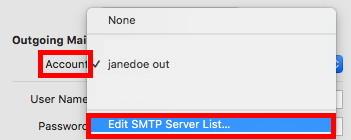 Edit SMTP Server List