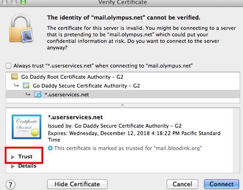 Trust Certificate OS X - OlympusNet