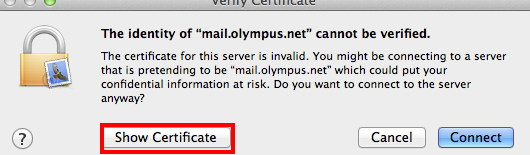 image of Show Certificate button