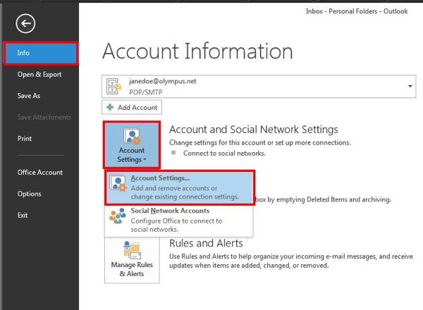 Change Account Settings