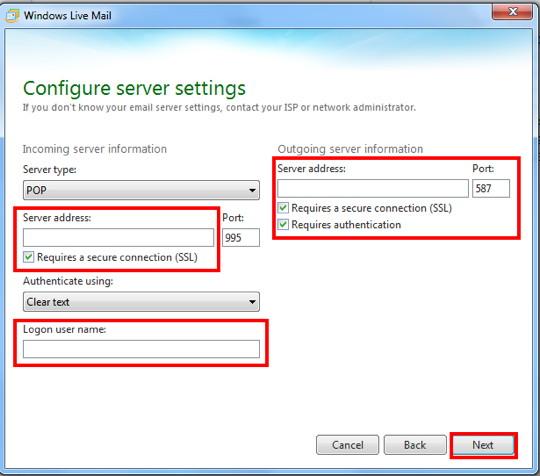 Config settings